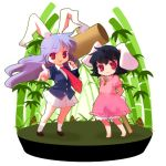 :3 animal_ears bad_id bamboo bamboo_forest barefoot black_hair bunny_ears chaba_(hortensia) chibi forest hammer inaba_tewi long_hair multiple_girls nature necktie purple_hair rabbit_ears red_eyes reisen_udongein_inaba short_hair touhou
