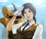 gloves kidou_keisatsu_patlabor nagumo_shinobu necktie patlabor police ponytail salute sky smile uniform vest