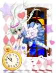 1girl alice_(wonderland) alice_(wonderland)_(cosplay) alice_in_wonderland asteion blush card crescent_moon dress einhart_stratos flipper green_eyes green_hair hair_ribbon heart heterochromia long_hair lyrical_nanoha mahou_shoujo_lyrical_nanoha_vivid moon playing_card pocket_watch puffy_sleeves ribbon short_sleeves solo star striped striped_legwear thigh-highs twintails violet_eyes watch window