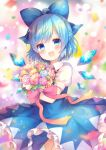 1girl :d ahoge bangs blue_dress blue_eyes blue_flower blue_hair blue_rose blue_wings blurry blurry_background blush bouquet bow cirno commentary_request confetti depth_of_field detached_wings dress eyebrows_visible_through_hair flower frilled_dress frills hair_bow head_tilt holding holding_bouquet ice ice_wings looking_at_viewer open_mouth pink_flower pink_rose pjrmhm_coa puffy_short_sleeves puffy_sleeves purple_flower purple_rose red_bow rose short_sleeves sleeveless sleeveless_dress smile solo touhou white_bow wings yellow_flower yellow_rose