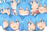 (9) 6+girls :q blue_eyes blue_hair blush bow bowtie bright_pupils candy cheek_poking cirno clone closed_eyes commentary_request double_v drooling eyebrows_visible_through_hair food grin hair_ribbon head_tilt head_to_head lollipop looking_at_another looking_at_viewer mizune_(winter) multiple_girls one_eye_closed open_mouth poking red_neckwear ribbon smile swirl_lollipop tongue tongue_out touhou upper_body v white_pupils