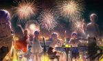 2boys 4girls arm_up armlet backlighting bare_shoulders black_hair bloom blue_eyes blue_hair blurry bokeh brown_hair can candle chair cityscape cocktail_glass cup depth_of_field dress dress_shirt drinking_glass fireworks high_heels highres holding holding_can long_hair looking_up luo_tianyi mo_qingxian multiple_boys multiple_girls night night_sky off_shoulder outdoors outstretched_arm ponytail purple_hair red_dress shirt short_sleeves sitting sky standing star_(sky) starry_sky table tidsean very_long_hair vocaloid vsinger white_dress white_hair white_shirt yanhe yuezheng_ling yuezheng_longya zhiyu_moke
