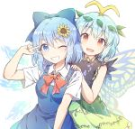 2girls antennae aqua_hair arm_up bangs blouse blue_dress blue_eyes blue_hair bow brown_eyes caramell0501 cirno commentary_request dress eternity_larva eyebrows_visible_through_hair fairy_wings flower green_dress hair_bow hair_ornament hand_on_shoulder highres ice ice_wings leaf leaf_hair_ornament leaf_on_head looking_at_viewer multicolored multicolored_clothes multicolored_dress multiple_girls no_wings one_eye_closed open_mouth outstretched_arms red_bow red_ribbon ribbon salute shirt short_hair sleeveless sunflower touhou two-finger_salute white_background white_blouse white_shirt wing_collar wings
