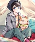 >_< 1girl animal backpack backpack_removed bag black_hair blue_eyes blurry blurry_background blush_stickers chihuahua chikuwa_(yurucamp) commentary dog hat highres holding holding_animal holding_dog jacket looking_at_viewer ringosutta saitou_ena sitting smile tongue tongue_out yurucamp