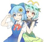 2girls antennae aqua_hair arm_up bangs blouse blue_dress blue_eyes blue_hair bow brown_eyes caramell0501 cirno dress eternity_larva eyebrows_visible_through_hair fairy_wings flower green_dress hair_bow hair_ornament hand_on_shoulder highres ice ice_wings leaf leaf_hair_ornament leaf_on_head looking_at_viewer multicolored multicolored_clothes multicolored_dress multiple_girls no_wings one_eye_closed open_mouth outstretched_arms red_bow red_ribbon ribbon salute shirt short_hair sleeveless sunflower touhou two-finger_salute white_background white_blouse white_shirt wing_collar wings