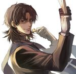 1boy between_fingers brown_eyes brown_hair closed_mouth cross cross_necklace evil_smile fate/stay_night fate_(series) gloves jewelry kotomine_kirei looking_at_viewer male_focus necklace nijihayashi shaded_face simple_background smile solo sword upper_body weapon white_background white_gloves