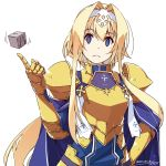 1girl alice_schuberg armor bangs blonde_hair blue_cape blue_dress blue_eyes blush breastplate cape closed_mouth commentary_request dated dot_nose dress frown hair_intakes hairband hand_on_hip hand_up highres index_finger_raised looking_at_viewer pauldrons shikei short_hair_with_long_locks shoulder_armor sidelocks signature simple_background solo sword_art_online upper_body white_background