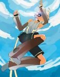1boy backlighting black_shorts blonde_hair blue_sky clouds collar collared_shirt commentary_request d_futagosaikyou detached_sleeves from_below full_body headphones jumping kagamine_len kagamine_len_(append) leg_warmers lens_flare male_focus see-through see-through_sleeves shirt short_ponytail shorts sketch sky sleeveless sleeveless_shirt spiky_hair sun vocaloid vocaloid_append white_shirt