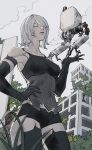 1girl android armlet bangs bare_shoulders black_gloves black_legwear black_shorts building closed_eyes clouds elbow_gloves gloves hair_over_one_eye hand_on_hip highres joints mole mole_under_mouth nier_(series) nier_automata oimkimn outdoors overgrown parted_lips plant pod_(nier_automata) post-apocalypse robot_joints rubble ruins short_hair shorts sky tank_top thigh-highs yorha_type_a_no._2