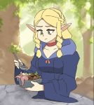 1girl :t animated artist_name bangs blonde_hair bowl choker cloak commentary dungeon_meshi ear_twitch eating elf english_commentary eyebrow_twitching eyebrows_visible_through_hair food foodgasm frown green_eyes hood hood_down looking_at_object looping_animation marcille mushroom open_mouth parted_bangs patreon_username pointy_ears red_choker rtil solo sparkle sparkling_eyes spoon sunlight tentacles tree video watermark web_address wide_sleeves