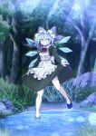 1girl :3 absurdres alternate_costume apron blue_eyes blue_hair bow cirno enmaided fairy_wings frilled_apron frills hair_bow highres ice ice_wings long_sleeves looking_at_viewer maid maid_apron maid_dress maid_headdress puffy_long_sleeves puffy_sleeves short_hair smile solo takoongyi the_embodiment_of_scarlet_devil touhou waist_apron white_apron wings