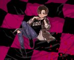 1boy brown_eyes brown_hair denim edward_furlong full_body gogglesyo jeans john_connor looking_at_viewer lying male_focus on_back pants petals shirt smile solo terminator terminator_2:_judgment_day torn_clothes torn_jeans torn_pants twitter_username watch watch