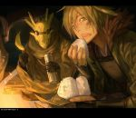 2boys banana camping copyright_name creature eating fantasy food fruit gloves green_eyes green_hair holding holding_food male_focus multiple_boys night onigiri open_mouth outdoors pixiv_fantasia pixiv_fantasia_5 raineis_han_(pixiv_fantasia) shishio sitting