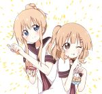 2girls ;q alternate_hairstyle bag bangs blue_eyes blush brown_eyes brown_sailor_collar closed_mouth commentary_request cookie dress eyebrows_visible_through_hair food hair_ornament hairclip highres holding holding_bag holding_food holding_spoon ice_cream ice_cream_spoon long_hair looking_at_viewer mesushio multiple_girls nanamori_school_uniform one_eye_closed oomuro_sakurako rum_raisin sailor_collar sailor_dress school_uniform serafuku side_ponytail smile spoon standing tongue tongue_out toshinou_kyouko upper_body v wavy_hair yuru_yuri