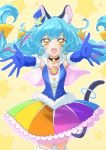 1girl :d absurdres animal_ear_fluff animal_ears bangs black_choker blue_gloves blue_hair blue_headwear blue_jacket cat_ears cat_tail choker collarbone cowboy_shot cure_cosmo elbow_gloves floating_hair fur-trimmed_gloves fur-trimmed_legwear fur_trim gloves hair_between_eyes hat hat_ornament highlights highres jacket layered_skirt long_hair mini_hat miniskirt multicolored multicolored_clothes multicolored_hair multicolored_skirt open_mouth outstretched_arms pleated_skirt precure reaching_out sharumon skirt sleeveless sleeveless_jacket smile solo standing star_(symbol) star_hat_ornament star_twinkle_precure tail thigh-highs very_long_hair yellow_eyes zettai_ryouiki
