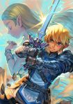 1boy 1girl arm_guards armor bangle bangs bare_shoulders belt blonde_hair blue_eyes bracelet brown_gloves day dress eyelashes glint gloves hankuri holding holding_sword holding_weapon jewelry link long_hair master_sword outdoors pants pointy_ears praying princess_zelda profile sheikah_slate short_hair short_ponytail sidelocks sleeveless sleeveless_dress sword the_legend_of_zelda the_legend_of_zelda:_breath_of_the_wild thick_eyebrows weapon white_dress