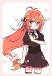 1girl alternate_costume crescent crescent_moon_pin enmaided floral_background kantai_collection maid maid_dress orange_eyes orange_hair rabbit solo uzuki_(kantai_collection) yoru_nai