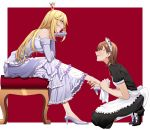 2girls absurdres alternate_costume anger_vein angry apron bare_shoulders black_dress black_footwear blonde_hair blush border breasts brown_eyes brown_hair chin_rest cloth crown dress elbow_gloves enmaided eye_contact frilled_apron frilled_dress frills from_side full_body gloves grey_dress grey_footwear grey_gloves high_heels highres holding_another's_foot kneehighs layered_dress leaning_forward leg_up long_hair looking_at_another maid maid_headdress medium_breasts misaka_mikoto multiple_girls outside_border parted_lips polishing_shoes profile puffy_short_sleeves puffy_sleeves red_background shokuhou_misaki short_hair short_sleeves simple_background sitting sleeveless sleeveless_dress smile smug soruna_(nell) star_(symbol) to_aru_kagaku_no_railgun to_aru_majutsu_no_index very_long_hair waist_apron white_apron white_border white_legwear