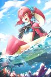 1girl :d black_ribbon blue_sky breasts commentary_request coral day fins fish_girl hair_ornament happy highres innertube jewelry kandori_makoto long_hair looking_at_viewer mipha monster_girl multicolored multicolored_skin no_eyebrows open_mouth outdoors pointy_ears red_skin redhead ribbon sitting sky smile soaking_feet solo teeth the_legend_of_zelda the_legend_of_zelda:_breath_of_the_wild water yellow_eyes zora