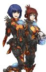 2girls barcode barcode_tattoo blue_eyes blue_hair breasts brown_eyes brown_hair commentary commentary_request helmet highres kotone_a looking_at_viewer military multiple_girls simple_background smile tactical_clothes tattoo titanfall titanfall_2 waving