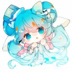 1girl blue_eyes blue_hair blush_stickers borrowed_design chibi commentary dress frilled_dress frills fur-trimmed_headwear fuyuzuki_gato hair_ornament hat hatsune_miku highres holding holding_hair looking_at_viewer solo star_(symbol) star_print twintails vocaloid yuki_miku