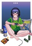 1girl :o bangs barefoot black_shorts blue_eyes blue_hair book_stack border can cellphone chips controller deca_purio food game_controller glasses green_shirt hair_ornament hairclip headphones headset highres long_hair open_mouth original phone pillow playing_games potato_chips red-framed_eyewear shirt short_shorts short_sleeves shorts sidelocks sitting smartphone t-shirt thighs toes white_border