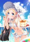 1girl abigail_williams_(fate/grand_order) abigail_williams_(swimsuit_foreigner)_(fate) absurdres bangs bare_shoulders bikini black_jacket blonde_hair blue_eyes blue_sky blush bonnet bow braid breasts closed_mouth eating fate/grand_order fate_(series) food forehead fork hair_bow hair_rings highres jacket long_hair looking_at_viewer miniskirt navel ocean pancake parted_bangs plate profnote sidelocks skirt sky small_breasts smile swimsuit twin_braids twintails very_long_hair white_bikini white_bow white_headwear