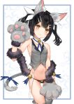 1girl absurdres animal_ears bangs bare_shoulders black_hair blush breasts brown_eyes cat_ears cat_tail fate/kaleid_liner_prisma_illya fate_(series) feathers gloves hair_feathers hair_ornament hairclip highres long_hair looking_at_viewer miyu_edelfelt navel panties paw_gloves paws simple_background small_breasts tail thighs underwear white_background yukineko1018