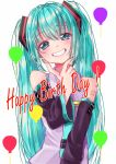 1girl arm_tattoo balloon blue_eyes blue_hair blue_neckwear detached_sleeves fingers_to_chin happy_birthday hatsune_miku highres long_hair looking_at_viewer mendakoyaki necktie smile solo tattoo twintails upper_body vocaloid white_background