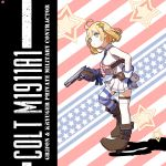 1girl ahoge american_flag american_flag_print bare_shoulders blonde_hair boots breasts character_name circle_a commentary_request english_text eyebrows_visible_through_hair flag_print full_body girls_frontline gloves gun handgun high_heel_boots high_heels highres holding holding_gun holding_weapon looking_at_viewer m1911 m1911_(girls_frontline) necktie pistol short_hair skirt sleeveless solo star_(symbol) striped striped_background striped_legwear thigh-highs weapon