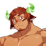 1boy animal_ears bara blush brown_hair chest darlton face facial_hair forked_eyebrows glowing_horns goatee horns male_focus manly muscle pectorals portrait shirtless short_hair sideburns solo thick_eyebrows tokyo_houkago_summoners upper_body wakan_tanka white_background