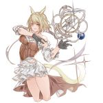 1girl animal_ears astrologian_(final_fantasy) bangs bare_shoulders black_gloves blonde_hair blush breasts brown_eyes card cat_ears cat_tail cropped_legs detached_sleeves eyebrows_visible_through_hair final_fantasy final_fantasy_xiv frills gloves kochiya_(gothope) looking_at_viewer medium_breasts miqo'te smile solo swept_bangs tail white_background
