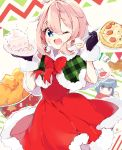 2girls :d blue_eyes blue_hair cake capelet christmas food food_on_face fried_chicken fur_trim gloves hat holding holding_plate kagamihara_nadeshiko multiple_girls one_eye_closed open_mouth outline pink_hair pizza plate ringosutta santa_costume santa_hat shima_rin smile violet_eyes yurucamp