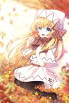 1girl adapted_costume ametama_(runarunaruta5656) autumn autumn_leaves blonde_hair blue_eyes bow bowtie brown_bow brown_footwear brown_neckwear brown_scarf capelet cherry_blossom_print commentary_request floral_print full_body hair_bow hand_on_own_chest hands_up knees_together_feet_apart lily_white loafers looking_at_viewer no_wings open_mouth plaid plaid_scarf scarf shoes sitting solo touhou white_capelet