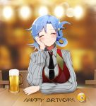 1girl alcohol bangs bbuni beer_mug blue_hair blurry blurry_background blush breasts chiebukuro_setsuka closed_eyes closed_mouth collared_shirt commentary_request cup danganronpa facing_viewer grey_sweater hair_ornament hand_on_own_cheek hand_on_own_face happy_birthday highres korean_commentary large_breasts long_sleeves mug necktie shirt short_hair sitting smile solo striped striped_shirt striped_sweater super_danganronpa_another_2 sweater tie_clip upper_body vest wing_collar