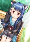 1girl animal animal_ear_fluff animal_ears arm_up bangs black_cardigan black_cat blue_hair blue_sailor_collar blue_skirt blush book bow cardigan cat cat_ears curtains day eyebrows_visible_through_hair highres idolmaster idolmaster_cinderella_girls idolmaster_cinderella_girls_starlight_stage indoors kemonomimi_mode kita_high_school_uniform long_sleeves looking_at_viewer on_chair on_lap open_cardigan open_clothes parted_lips red_bow red_eyes regular_mow sailor_collar sajo_yukimi school_uniform serafuku shirt sitting skirt sleeves_past_wrists solo sunlight suzumiya_haruhi_no_yuuutsu transparent white_shirt window