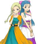 2girls arm_behind_back belt bianca_(dq5) black_belt blonde_hair blue_eyes blue_hair bow bracelet braid choker closed_mouth dragon_quest dragon_quest_v dress earrings flora_(dq5) hair_bow hair_over_shoulder hair_pulled_back hair_tie hands_together highres jewelry long_dress long_hair medium_dress morisawa_haruyuki multiple_girls open_mouth purple_bow simple_background single_braid single_strap smile two-tone_dress v_arms white_background white_choker white_dress yellow_choker