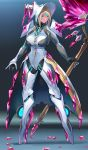 1girl absurdres agate_(xenoblade) axe blonde_hair blue_eyes bodysuit bonnet breasts crystal facial_mark full_body gloves gradient grey_background grey_bodysuit high_heels highres holding holding_axe large_breasts long_sleeves looking_at_viewer negresco polearm short_hair short_hair_with_long_locks skin_tight smile solo standing weapon xenoblade_chronicles_(series) xenoblade_chronicles_2