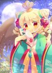 1girl :q bangs blonde_hair blush brown_wings character_request closed_mouth commentary_request dango drill_hair eyebrows_visible_through_hair fan feathered_wings flower folding_fan food full_moon green_kimono hair_between_eyes hair_flower hair_ornament hands_up hat holding holding_fan holding_food japanese_clothes kimono kouu_hiyoyo long_hair long_sleeves looking_at_viewer moon night outdoors puyopuyo red_eyes red_flower sanshoku_dango smile solo tongue tongue_out wagashi wide_sleeves wings