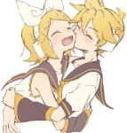 1boy 1girl arm_warmers bangs bare_shoulders black_collar black_sleeves blonde_hair blush bow cheek_kiss collar commentary cropped_torso fang furrowed_eyebrows hair_bow hair_ornament hairclip happy headphones highres hug kagamine_len kagamine_rin kiss leaning_forward m0ti neckerchief necktie open_mouth sailor_collar school_uniform shirt short_ponytail short_sleeves sleeveless sleeveless_shirt smile spiky_hair swept_bangs twitter_username upper_body vocaloid white_background white_bow white_shirt yellow_neckwear