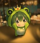 +_+ 1girl :p animal_costume asui_tsuyu black_eyes black_hair blurry blurry_background blush boku_no_hero_academia bow bowtie chibi chinese_commentary commentary_request crown dated frog_costume frog_girl hair_between_eyes long_hair looking_at_viewer outstretched_arms reaching_out shadow sidelocks signature solo tongue tongue_out xxiiaaooxx