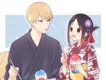 1boy 1girl alternate_costume black_hair blonde_hair blue_background blue_eyes blue_tongue collarbone commentary_request floral_print flower folded_ponytail food hair_flower hair_ornament hair_ribbon holding holding_spoon japanese_clothes juugonichi_(wheeliex2) kaguya-sama_wa_kokurasetai_~tensai-tachi_no_renai_zunousen~ kimono long_sleeves looking_at_another obi open_mouth purple_flower red_eyes ribbon sash shaved_ice shinomiya_kaguya shirogane_miyuki short_hair spoon tongue tongue_out translation_request upper_body wavy_mouth white_background yukata