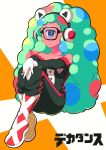 1girl absurdres bare_shoulders blue_eyes copyright_name cyborg cyclops decadence_(anime) eriko full_body glasses gloves green_hair hands_on_own_knees headphones highres huge_filesize jill_(decadence) long_hair looking_at_viewer one-eyed personification pink_skin simple_background sitting very_long_hair white_gloves