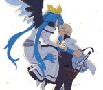1boy 1girl :d asaya_minoru bangs black_pants black_shirt black_wings blonde_hair blue_gloves blue_hair closed_eyes dizzy_(guilty_gear) dress eyebrows_visible_through_hair facing_another feathered_wings gloves guilty_gear_2 hair_between_eyes hair_ribbon holding_hands jacket jacket_on_shoulders juliet_sleeves ky_kiske long_hair long_sleeves low_twintails mismatched_wings off-shoulder_dress off_shoulder open_mouth pants partly_fingerless_gloves puffy_sleeves ribbon sheath sheathed shirt shoe_soles simple_background smile sword twintails twitter_username very_long_hair weapon white_background white_dress white_footwear white_jacket white_wings wings yellow_ribbon