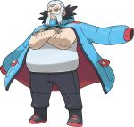 1boy arm_hair artist_request black_footwear black_pants blue_coat boots closed_mouth coat coat_on_shoulders crossed_arms facial_hair fat full_body grey_eyes grey_hair gym_leader happy jewelry looking_at_viewer male_focus mustache necklace official_art pants pokemon pokemon_(game) pokemon_xy shiny shiny_clothes shirt short_hair sleeveless sleeveless_shirt smile solo standing transparent_background white_shirt wulfric_(pokemon)