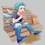 1girl :3 absurdres acrylic_paint_(medium) alternate_costume animal_print bag bangs_pinned_back bench blue_eyes blue_footwear blue_hair blue_legwear blush cat_print cirno eating food forehead grey_background hair_up hands_up highres holding holding_food ice ice_wings looking_at_viewer looking_to_the_side open_mouth pantyhose paper_bag pastry shirt shopping_bag short_hair short_sleeves sideways_glance simple_background sitting_on_bench solo t-shirt torn_shoes touhou traditional_media two-tone_legwear u-joe upper_teeth white_legwear wings