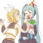 2girls aqua_hair aqua_neckwear bangs bare_shoulders birthday_cake black_collar black_shorts black_skirt black_sleeves blonde_hair blue_eyes bow bowtie cake closed_eyes collar crop_top detached_sleeves feeding food food_on_face fruit grey_shirt hair_bow hair_ornament hairclip hat hatsune_miku headphones highres holding holding_cake holding_food holding_spoon holding_spring_onion holding_vegetable kagamine_rin leaning_forward long_hair m0ti miniskirt multiple_girls necktie open_mouth party_hat pleated_skirt red_bow sailor_collar shirt short_hair shorts skirt smile spoon spring_onion standing strawberry swept_bangs twintails upper_body vegetable very_long_hair vocaloid white_background white_bow white_shirt