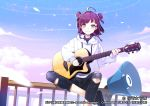 1girl ahoge album_cover azma_(mitch55) black_footwear black_pants clouds cover denim double_bun guitar hanayori_jyoshiryou instrument kohigashi_hitona megaphone music on_railing outdoors pants playing_instrument purple_hair short_hair sitting solo torn_clothes torn_pants violet_eyes virtual_youtuber watermark white_hoodie
