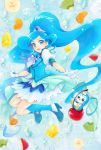 :d aizen_(syoshiyuki) bangs blue_eyes blue_footwear blue_hair blue_jacket blue_legwear blue_skirt cure_fontaine earrings gloves hair_ornament healin'_good_precure high_heels highres jacket jewelry kneehighs long_hair looking_at_viewer miniskirt multicolored multicolored_clothes multicolored_skirt open_mouth parted_bangs precure shiny shiny_hair short_sleeves skirt smile twintails very_long_hair white_gloves white_skirt white_sleeves