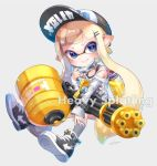 1girl artist_name bangs baseball_cap black_footwear black_headwear black_shirt blue_eyes blunt_bangs closed_mouth clothes_writing domino_mask dress earrings english_text full_body grey_background grey_legwear grey_shirt hair_ornament hairclip hat holding holding_weapon ink_tank_(splatoon) inkling inkling_(language) invisible_chair jewelry long_hair long_sleeves looking_at_viewer mask mask_pull off-shoulder_shirt off_shoulder pointy_ears pulled_by_self shirt shoes signature single_horizontal_stripe sitting smile sneakers socks solo splatoon_(series) splatoon_2 strapless strapless_dress tank_top tentacle_hair wataru_(w_t_r_ika) weapon white_hair